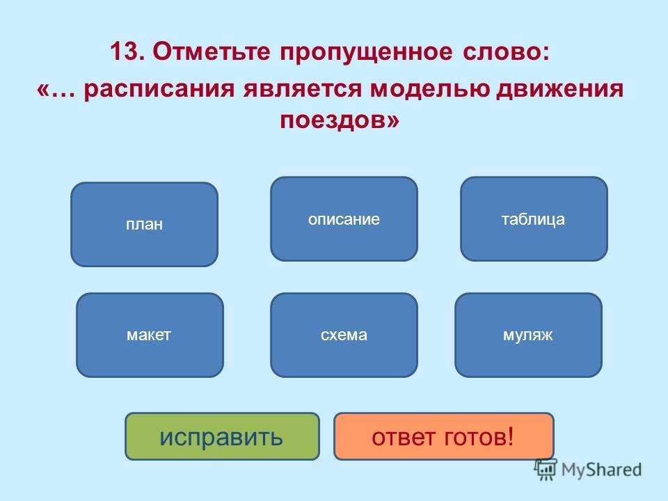 таблица план описание муляж исправитьответ готов! схемамакет 13. Отметьте пропущенное слово: «… расписания является моделью движения поездов»