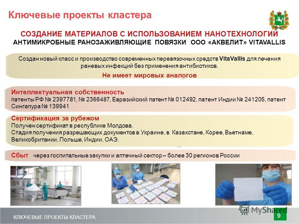 Сбы т через госпитальные закупки и аптечный сектор – более 30 регионов России Создан новый класс и производство современных перевязочных средств VitaVallis для лечения раневых инфекций без применения антибиотиков. Не имеет мировых аналогов Сертификац