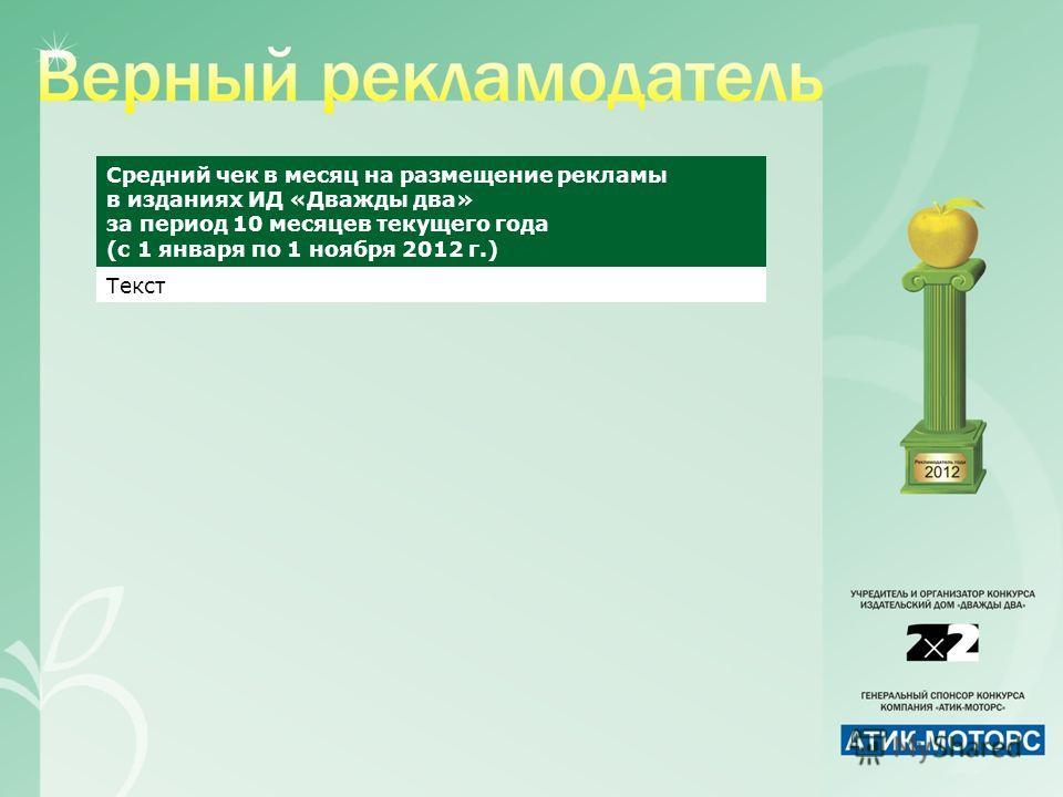 Средний чек в месяц на размещение рекламы в изданиях ИД «Дважды два» за период 10 месяцев текущего года (с 1 января по 1 ноября 2012 г.) Текст