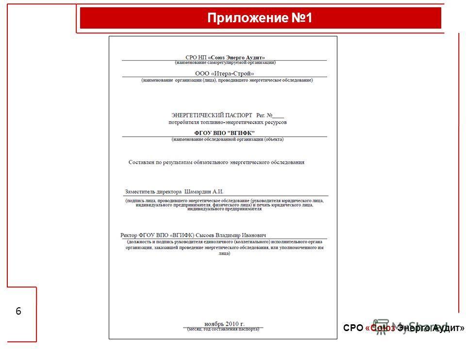 Приложение 1 6 СРО «Союз Энерго Аудит»