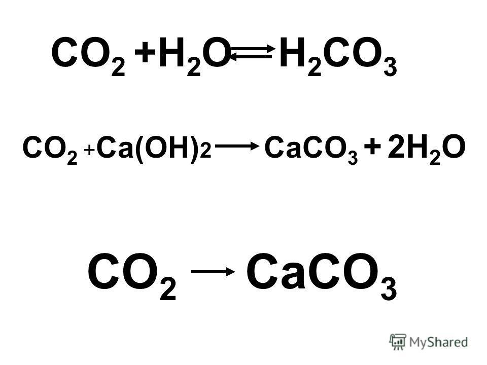 CO 2 +H 2 O H 2 CO 3 CO 2 + Ca(OH) 2 CaCO 3 + 2H 2 O CO 2 CaCO 3