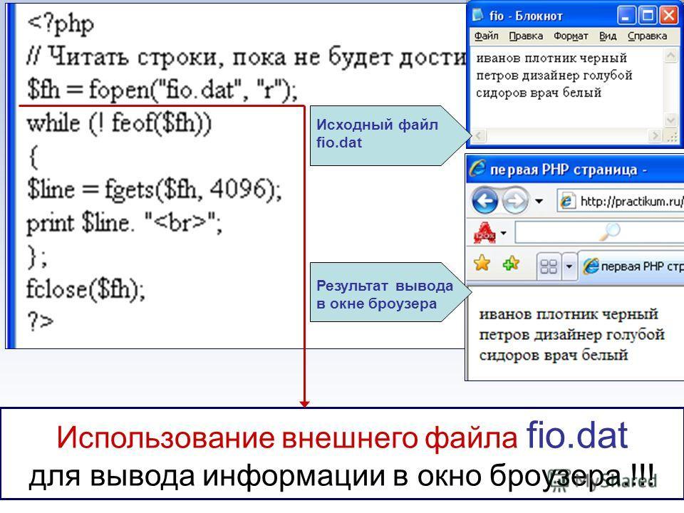 Использование внешнего файла fio.dat для вывода информации в окно броузера.!!! Исходный файл fio.dat Результат вывода в окне броузера