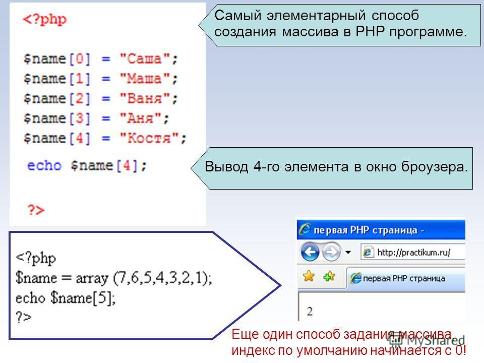 Самый элементарный способ создания массива в PHP программе. Вывод 4-го элемента в окно броузера. Еще один способ задания массива, индекс по умолчанию начинается с 0!