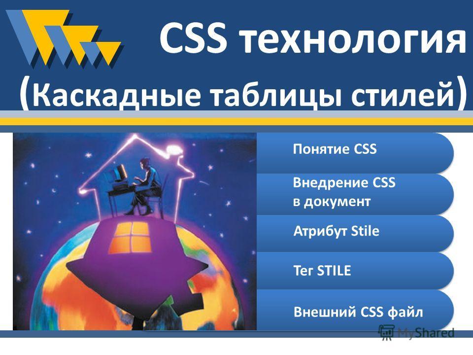 CSS технология ( Каскадные таблицы стилей ) Понятие CSS Внедрение CSS в документ Атрибут Stile Тег STILE Внешний CSS файл