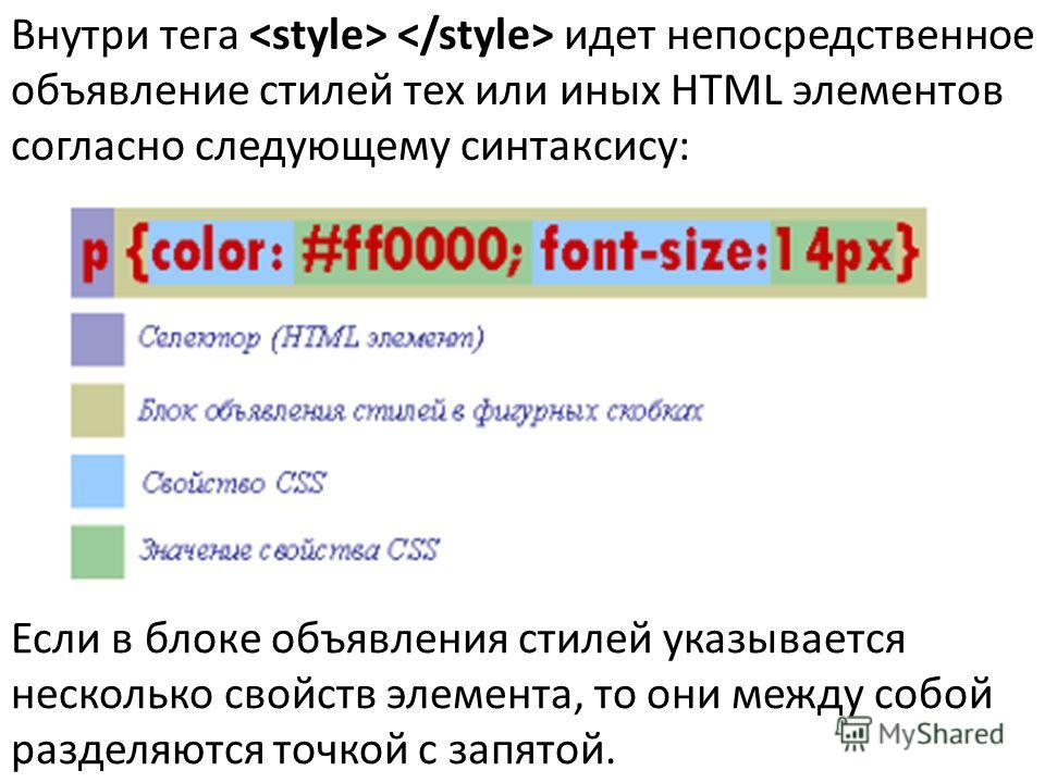 Внутри тега идет непосредственное объявление стилей тех или иных HTML элементов согласно следующему синтаксису: Если в блоке объявления стилей указывается несколько свойств элемента, то они между собой разделяются точкой с запятой.