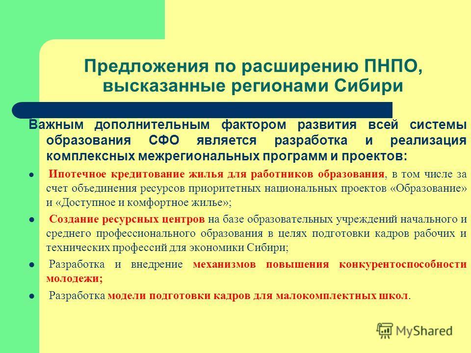 Предложения по расширению ПНПО, высказанные регионами Сибири Важным дополнительным фактором развития всей системы образования СФО является разработка и реализация комплексных межрегиональных программ и проектов: Ипотечное кредитование жилья для работ