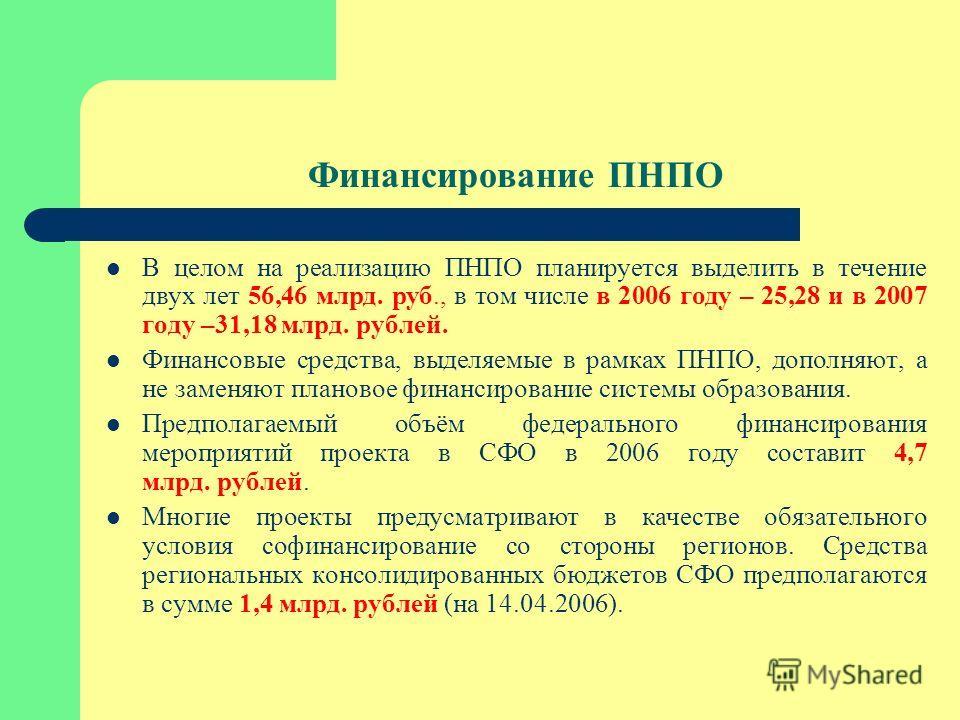 Финансирование ПНПО В целом на реализацию ПНПО планируется выделить в течение двух лет 56,46 млрд. руб., в том числе в 2006 году – 25,28 и в 2007 году –31,18 млрд. рублей. Финансовые средства, выделяемые в рамках ПНПО, дополняют, а не заменяют планов