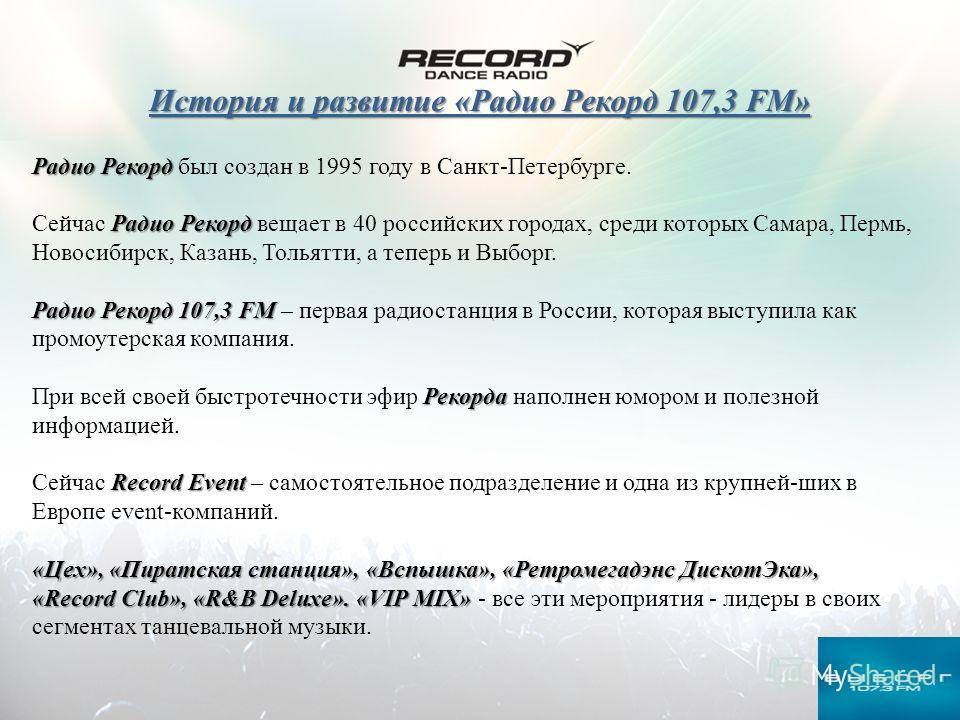 История и развитие «Радио Рекорд 107,3 FM» Радио Рекорд Радио Рекорд был создан в 1995 году в Санкт-Петербурге. Радио Рекорд Сейчас Радио Рекорд вещает в 40 российских городах, среди которых Самара, Пермь, Новосибирск, Казань, Тольятти, а теперь и Вы