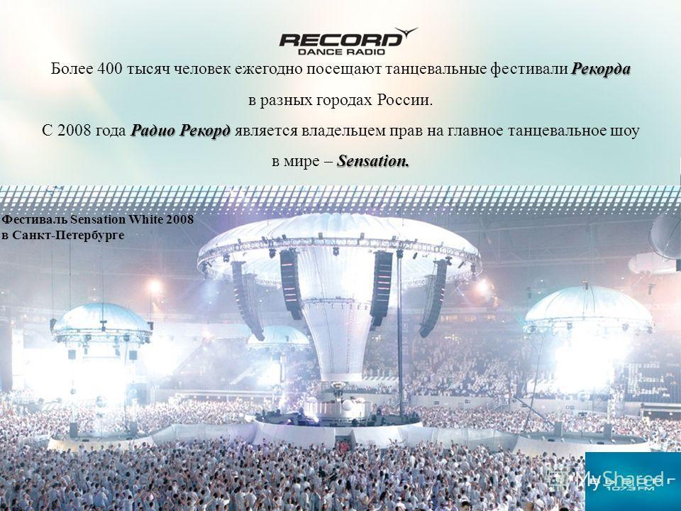 История и развитие Радио Рекорд Рекорда Более 400 тысяч человек ежегодно посещают танцевальные фестивали Рекорда в разных городах России. Радио Рекорд С 2008 года Радио Рекорд является владельцем прав на главное танцевальное шоу Sensation. в мире – S