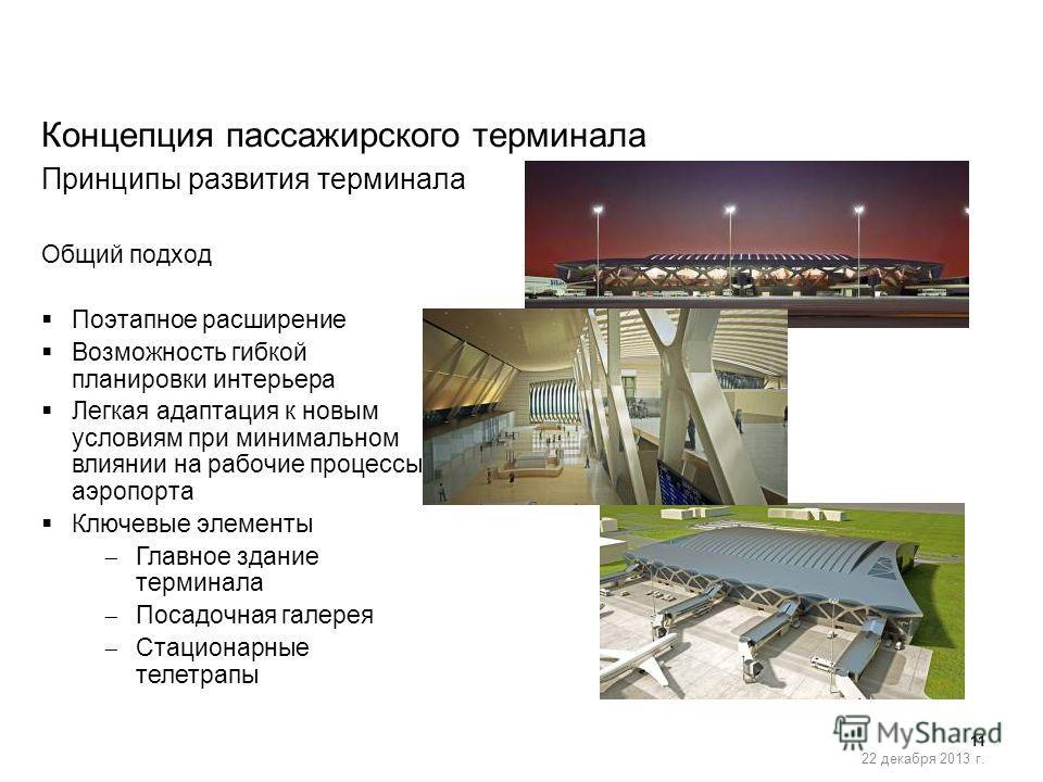11 22 декабря 2013 г. Общий подход Поэтапное расширение Возможность гибкой планировки интерьера Легкая адаптация к новым условиям при минимальном влиянии на рабочие процессы аэропорта Ключевые элементы Главное здание терминала Посадочная галерея Стац