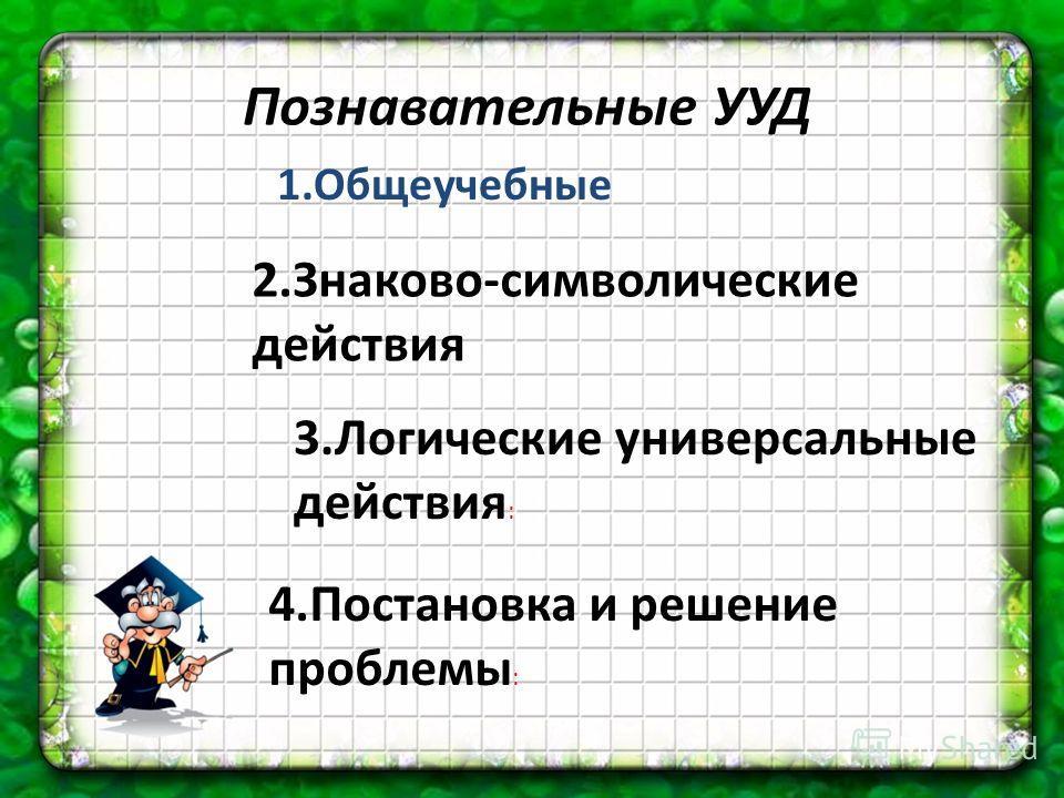 Познавательные УУД 1.Общеучебные 4.Постановка и решение проблемы : 3.Логические универсальные действия : 2.Знаково-символические действия