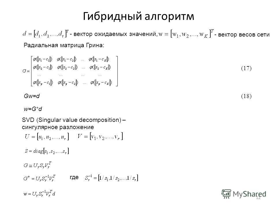 Гибридный алгоритм 12 - вектор ожидаемых значений, - вектор весов сети Радиальная матрица Грина: Gw=d w=G + d SVD (Singular value decomposition) – сингулярное разложение где (17) (18)