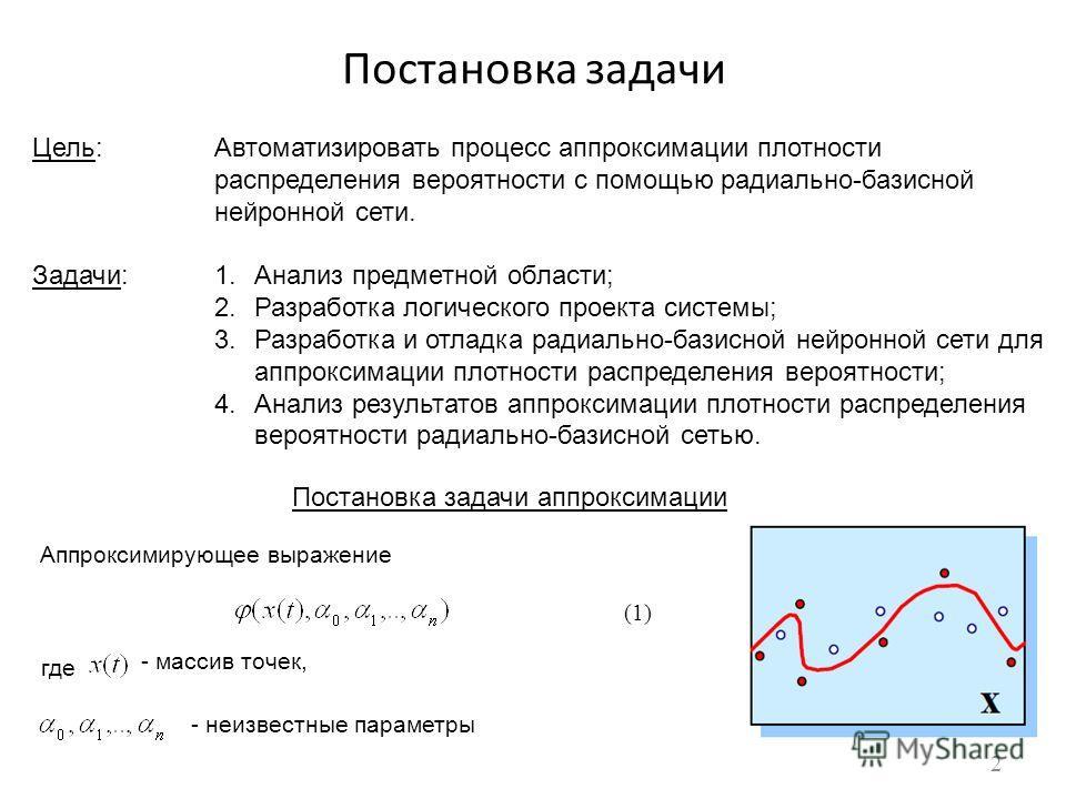 Постановка задачи Цель:Автоматизировать процесс аппроксимации плотности распределения вероятности с помощью радиально-базисной нейронной сети. Задачи:1.Анализ предметной области; 2.Разработка логического проекта системы; 3.Разработка и отладка радиал