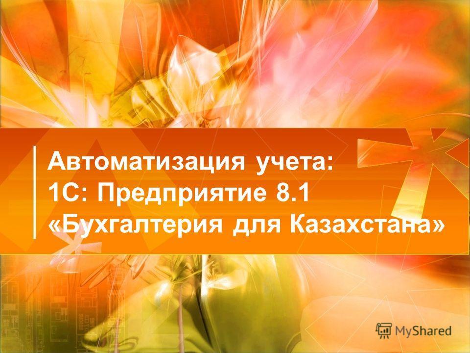 Автоматизация учета: 1С: Предприятие 8.1 «Бухгалтерия для Казахстана»