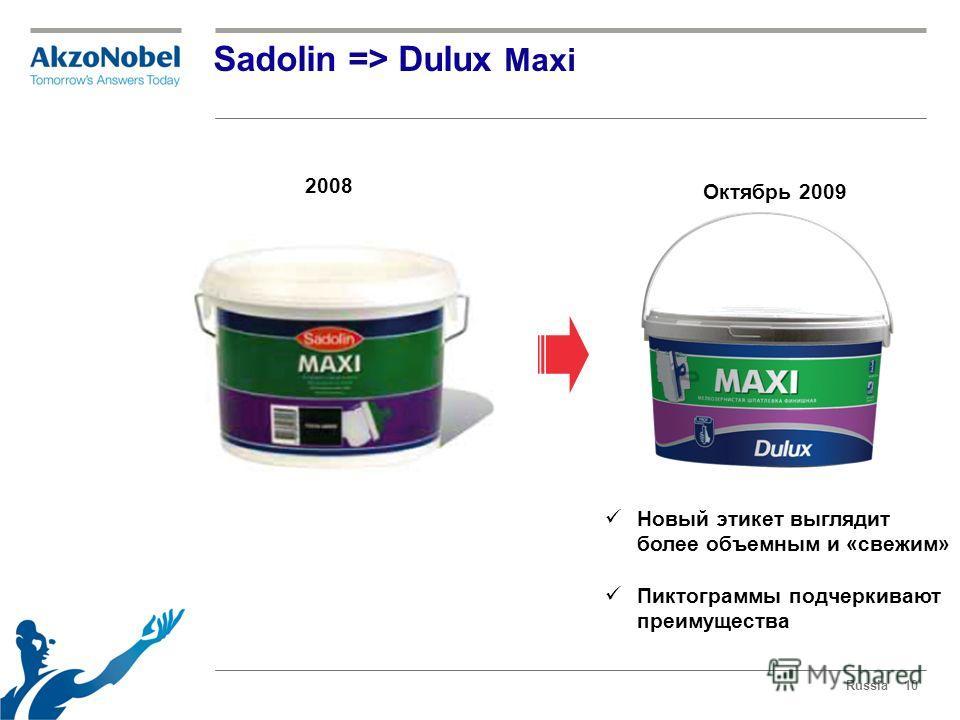 Russia10 Sadolin => Dulux Maxi 2008 Октябрь 2009 Новый этикет выглядит более объемным и «свежим» Пиктограммы подчеркивают преимущества