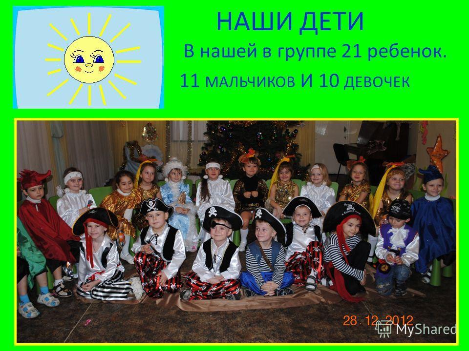 НАШИ ДЕТИ В нашей в группе 21 ребенок. 11 МАЛЬЧИКОВ И 10 ДЕВОЧЕК