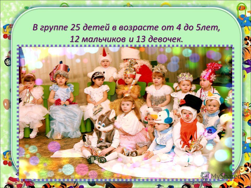 В группе 25 детей в возрасте от 4 до 5лет, 12 мальчиков и 13 девочек.