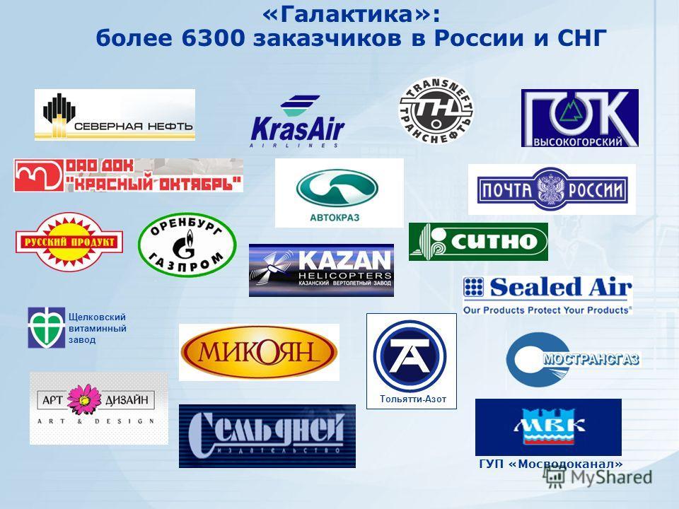 Щелковский витаминный завод Тольятти-Азот «Галактика»: более 6300 заказчиков в России и СНГ ГУП «Мосводоканал»