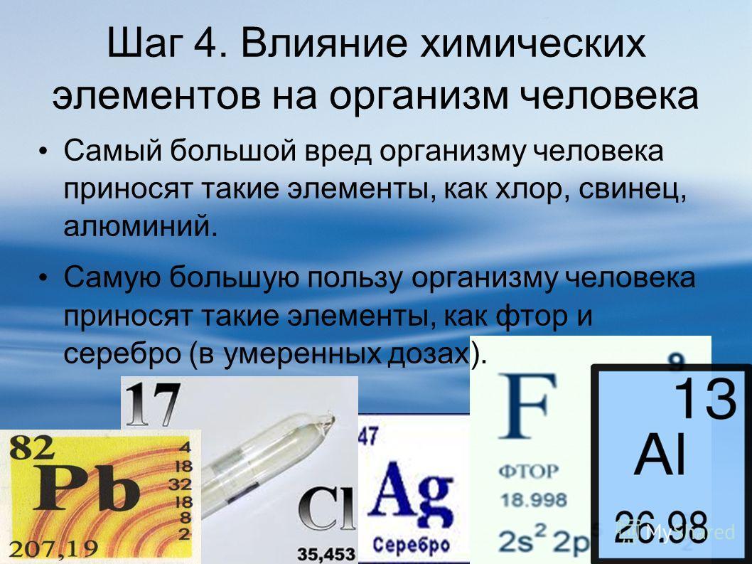 Шаг 4. Влияние химических элементов на организм человека Самый большой вред организму человека приносят такие элементы, как хлор, свинец, алюминий. Самую большую пользу организму человека приносят такие элементы, как фтор и серебро (в умеренных дозах