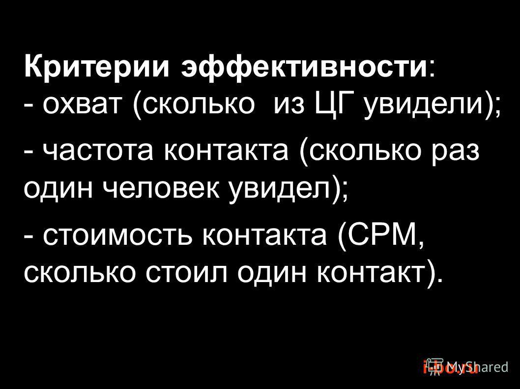 i-bo.ru Критерии эффективности: - охват (сколько из ЦГ увидели); - частота контакта (сколько раз один человек увидел); - стоимость контакта (CPM, сколько стоил один контакт).