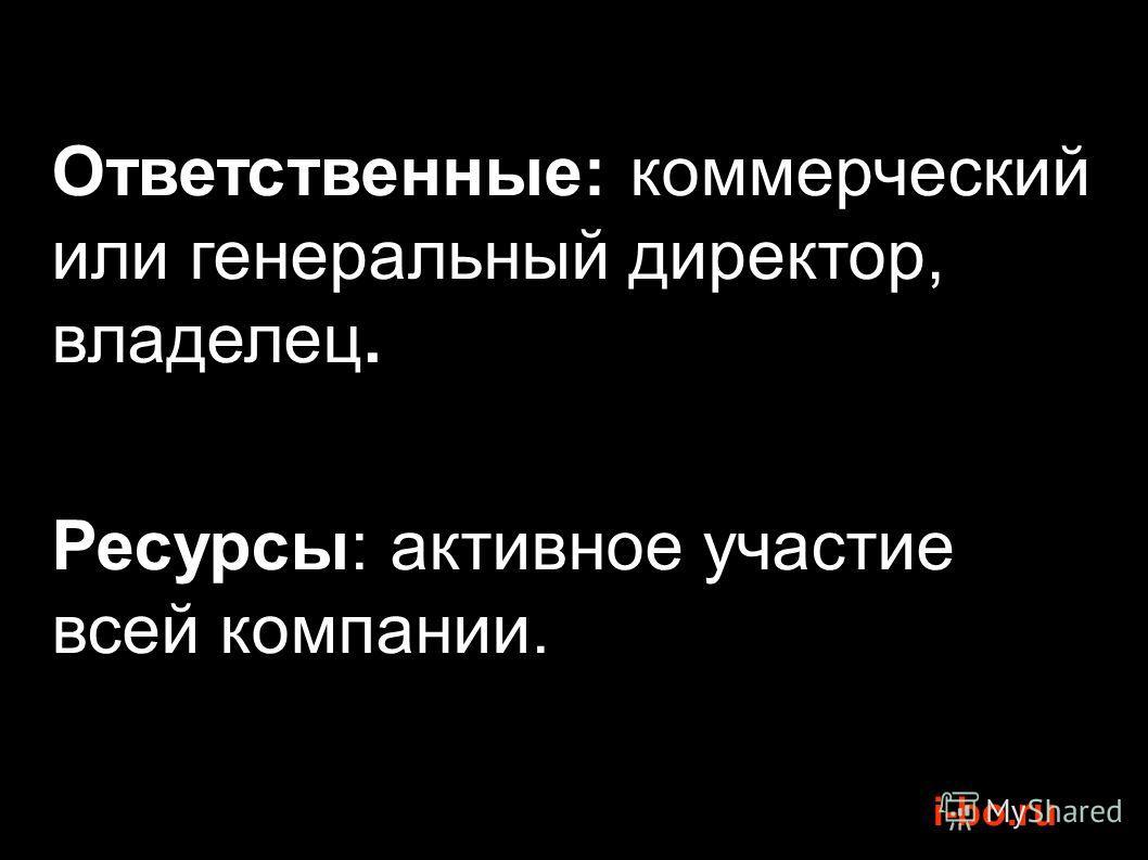 i-bo.ru Ответственные: коммерческий или генеральный директор, владелец. Ресурсы: активное участие всей компании.