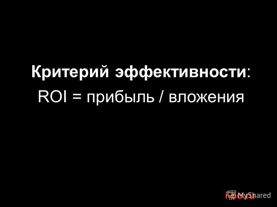 i-bo.ru Критерий эффективности: ROI = прибыль / вложения