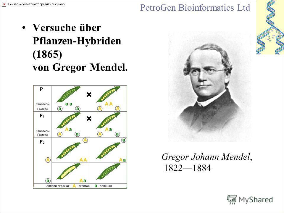 Versuche über Pflanzen-Hybriden (1865) von Gregor Mendel. Gregor Johann Mendel, 18221884 PetroGen Bioinformatics Ltd