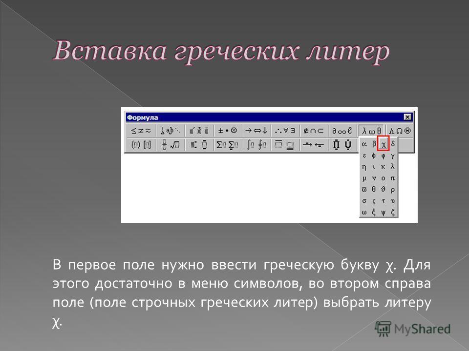В первое поле нужно ввести греческую букву χ. Для этого достаточно в меню символов, во втором справа поле (поле строчных греческих литер) выбрать литеру χ.