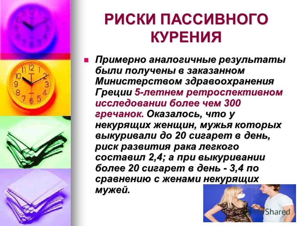 РИСКИ ПАССИВНОГО КУРЕНИЯ Примерно аналогичные результаты были получены в заказанном Министерством здравоохранения Греции 5-летнем ретроспективном исследовании более чем 300 гречанок. Оказалось, что у некурящих женщин, мужья которых выкуривали до 20 с