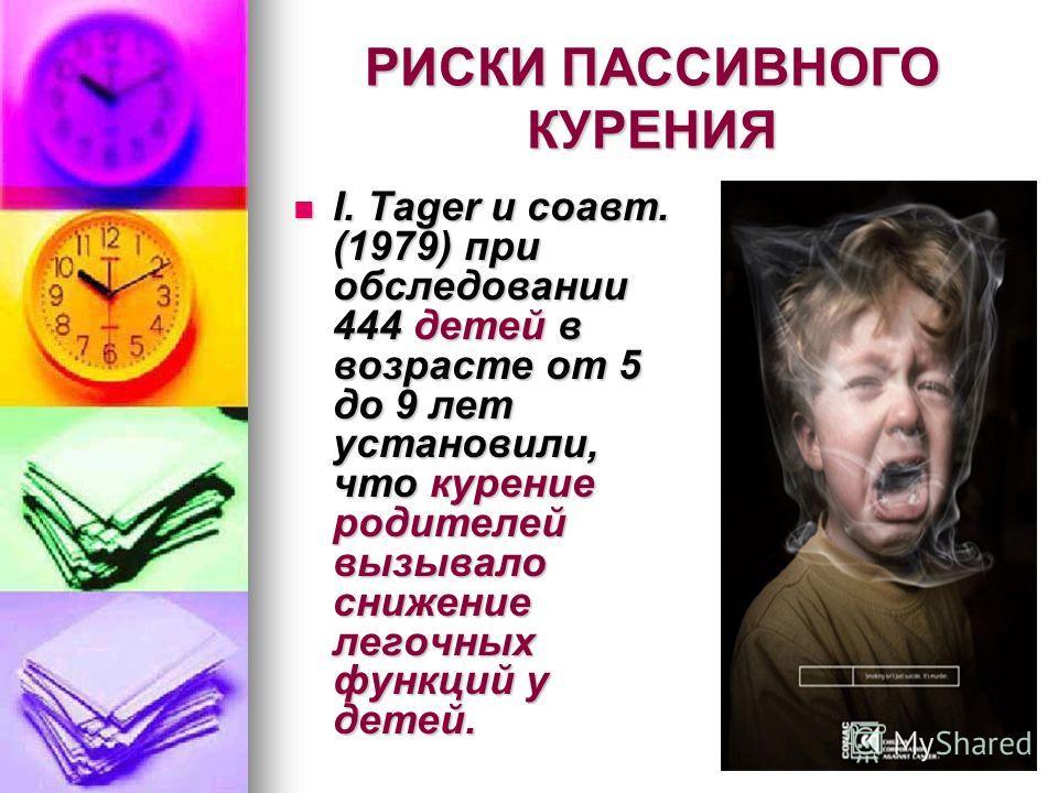 РИСКИ ПАССИВНОГО КУРЕНИЯ I. Tager и соавт. (1979) при обследовании 444 детей в возрасте от 5 до 9 лет установили, что курение родителей вызывало снижение легочных функций у детей. I. Tager и соавт. (1979) при обследовании 444 детей в возрасте от 5 до