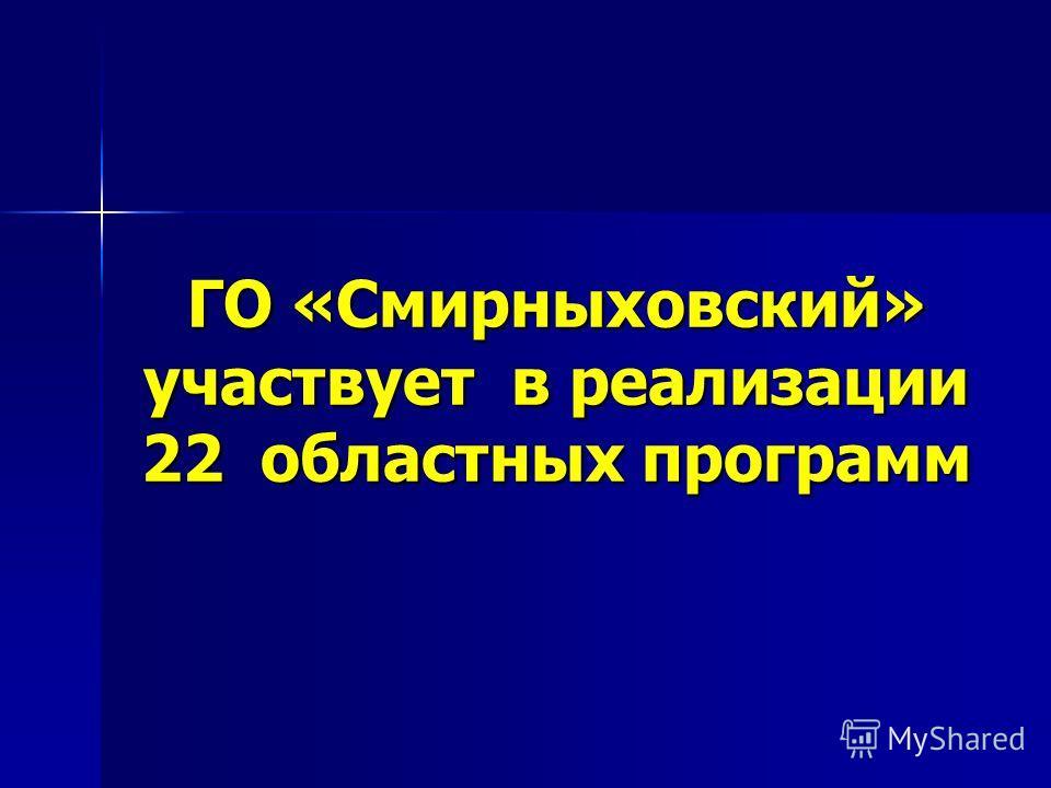 ГО «Смирныховский» участвует в реализации 22 областных программ