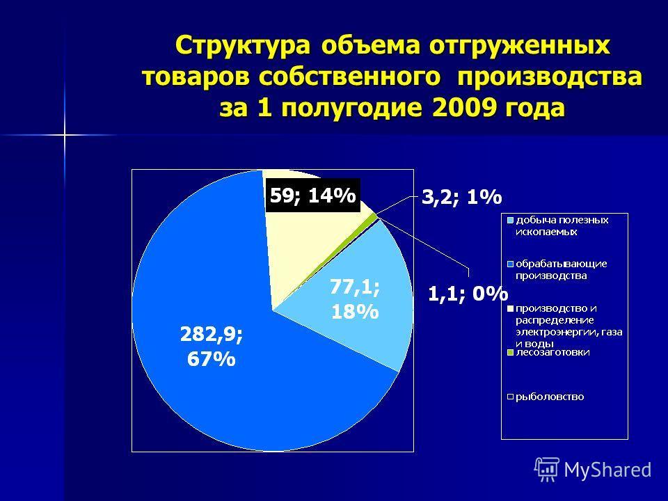 Структура объема отгруженных товаров собственного производства за 1 полугодие 2009 года