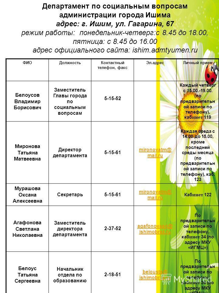 Департамент по социальным вопросам администрации города Ишима адрес: г. Ишим, ул. Гагарина, 67 режим работы: понедельник-четверг:с 8.45 до 18.00, пятница: с 8.45 до 16.00 адрес официального сайта: ishim.admtyumen.ru ФИОДолжностьКонтактный телефон, фа