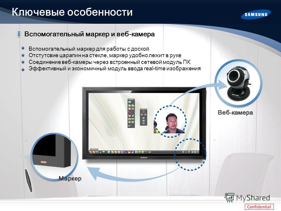 Вспомогательный маркер и веб-камера Вспомогательный маркер для работы с доской Отстутсвие царапин на стекле, маркер удобно лежит в руке Соединение веб-камеры через встроенный сетевой модуль ПК Эффективный и экономичный модуль ввода real-time изображе