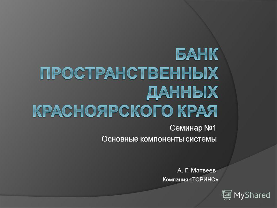 А. Г. Матвеев Компания «ТОРИНС» Семинар 1 Основные компоненты системы