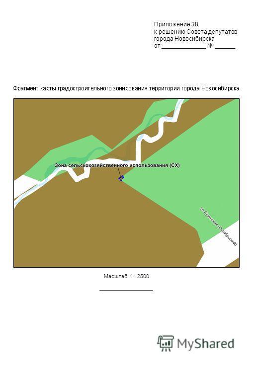 Масштаб 1 : 2500 Приложение 38 к решению Совета депутатов города Новосибирска от _____________ ______