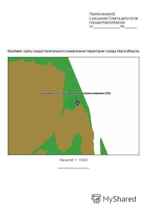 Масштаб 1 : 10000 Приложение 65 к решению Совета депутатов города Новосибирска от _____________ ______