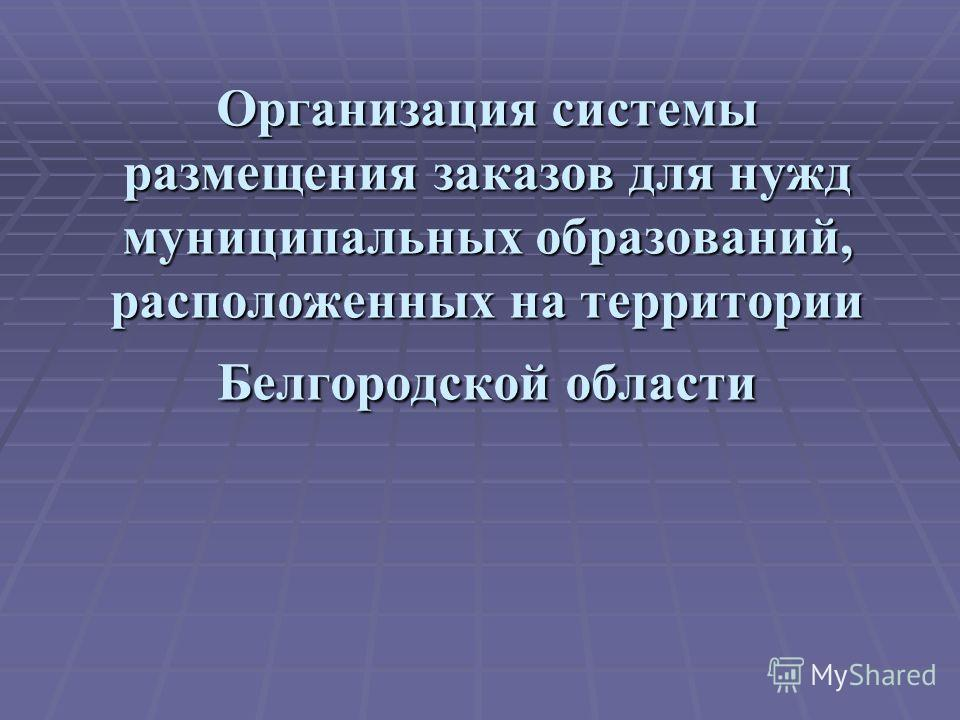 Организация системы размещения заказов для нужд муниципальных образований, расположенных на территории Белгородской области