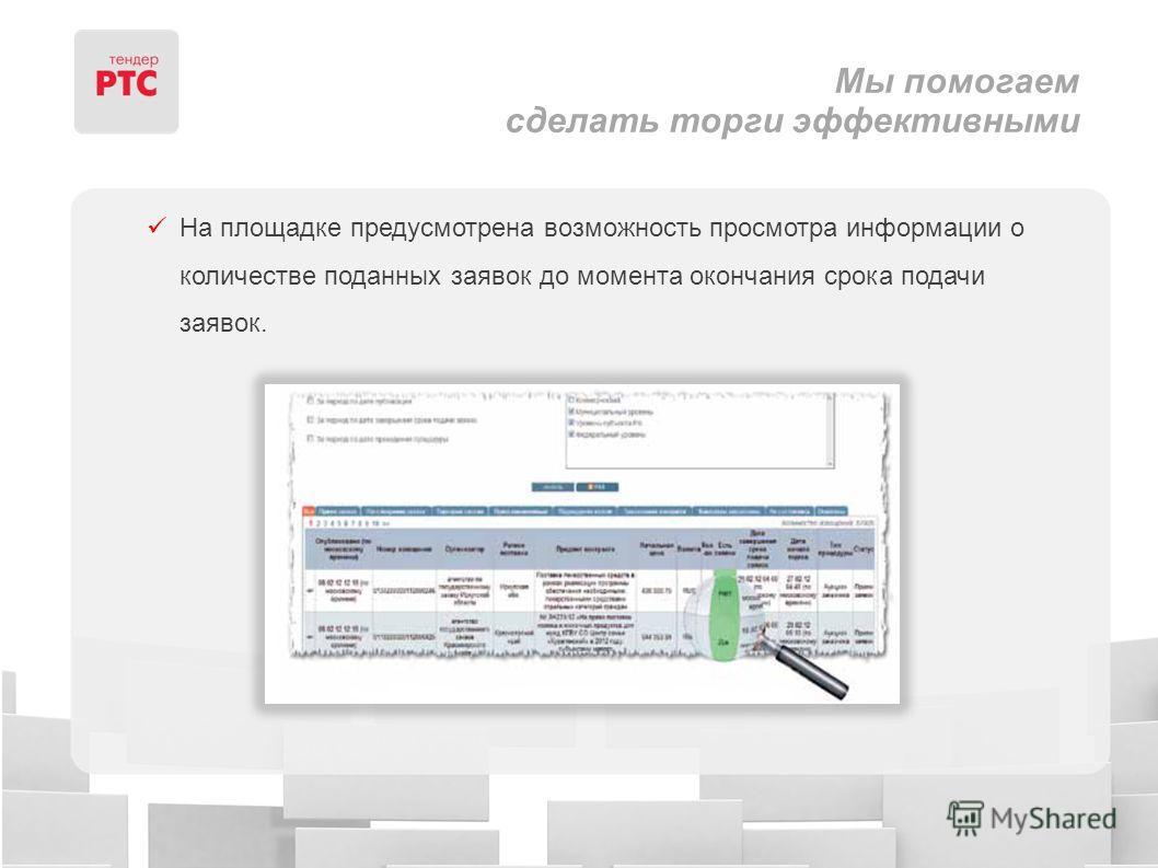 Мы помогаем сделать торги эффективными На площадке предусмотрена возможность просмотра информации о количестве поданных заявок до момента окончания срока подачи заявок.