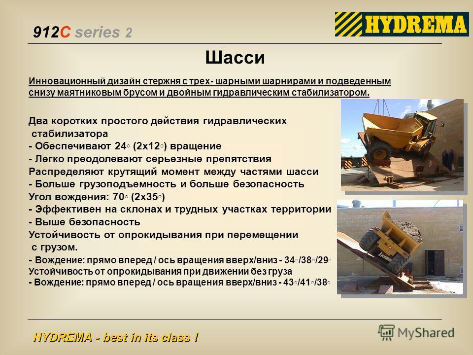 912C series 2 HYDREMA - best in its class ! Инновационный дизайн стержня с трех- шарными шарнирами и подведенным снизу маятниковым брусом и двойным гидравлическим стабилизатором. Два коротких простого действия гидравлических стабилизатора - Обеспечив