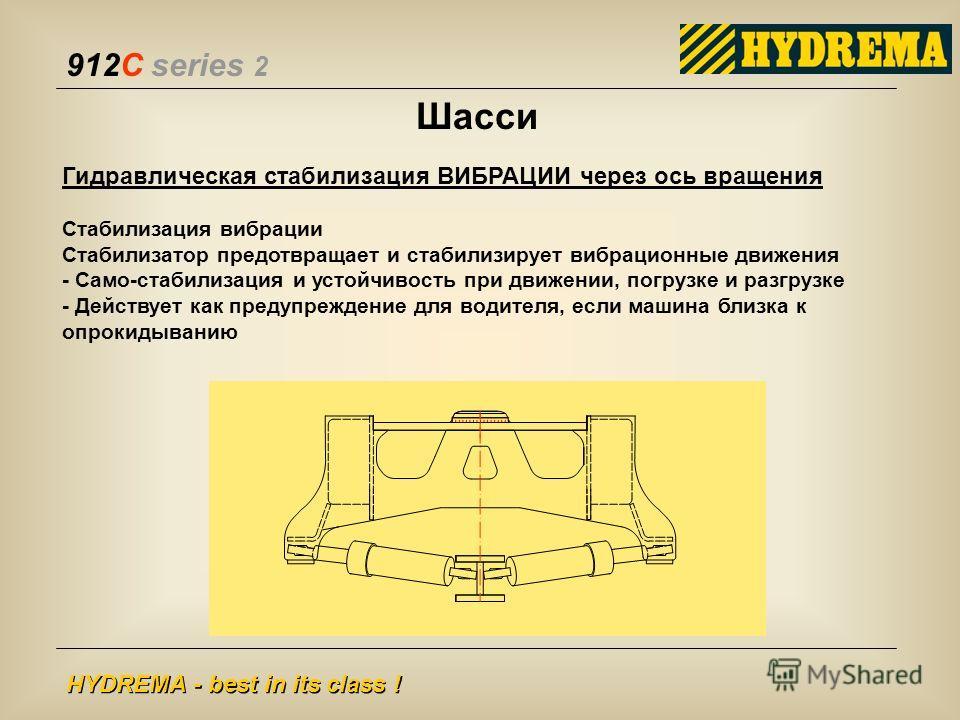 912C series 2 HYDREMA - best in its class ! Шасси Гидравлическая стабилизация ВИБРАЦИИ через ось вращения Стабилизация вибрации Стабилизатор предотвращает и стабилизирует вибрационные движения - Само-стабилизация и устойчивость при движении, погрузке