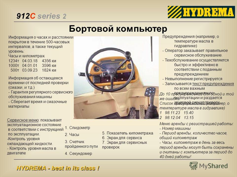 912C series 2 HYDREMA - best in its class ! Бортовой компьютер 1. Спидометр 2. Часы 3. Счетчик пройденного пути 4. Секундомер 5. Показатель километража 6. Экран для сервиса 7. Экран для сервисных проверок Информация о часах и расстоянии, покрытом в т