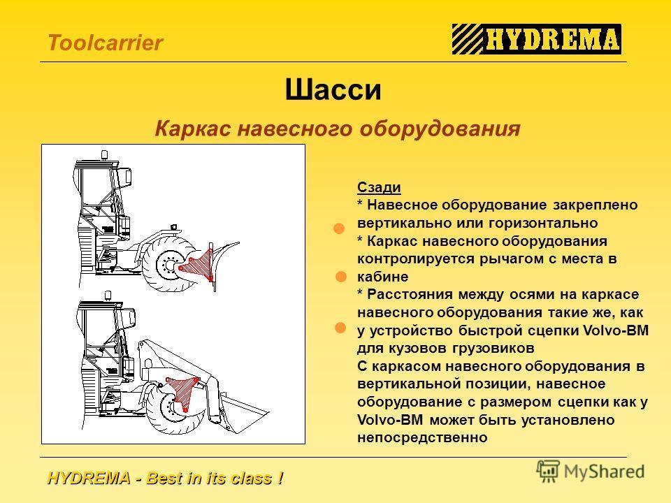 HYDREMA - Best in its class ! Toolcarrier Шасси Каркас навесного оборудования Сзади * Навесное оборудование закреплено вертикально или горизонтально * Каркас навесного оборудования контролируется рычагом с места в кабине * Расстояния между осями на к