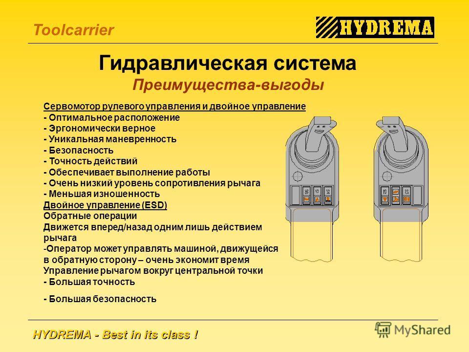 HYDREMA - Best in its class ! Toolcarrier Гидравлическая система Преимущества-выгоды Сервомотор рулевого управления и двойное управление - Оптимальное расположение - Эргономически верное - Уникальная маневренность - Безопасность - Точность действий -