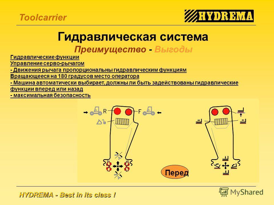 HYDREMA - Best in its class ! Toolcarrier Гидравлическая система Преимущество - Выгоды Гидравлические функции Управление серво-рычагом - Движения рычага пропорциональны гидравлическим функциям Вращающееся на 180 градусов место оператора - Машина авто