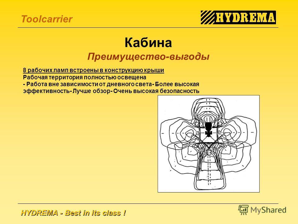 HYDREMA - Best in its class ! Toolcarrier 8 рабочих ламп встроены в конструкцию крыши Рабочая территория полностью освещена - Работа вне зависимости от дневного света- Более высокая эффективность- Лучше обзор- Очень высокая безопасность Кабина Преиму