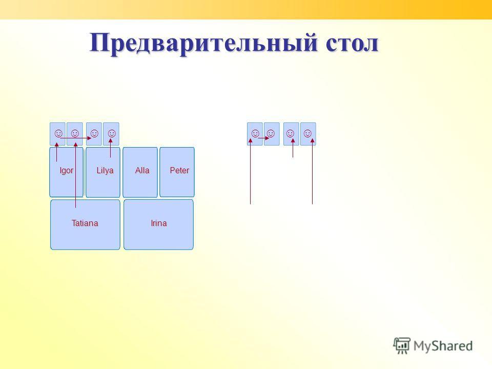 TatianaIrina Igor LilyaAlla Peter Предварительный стол