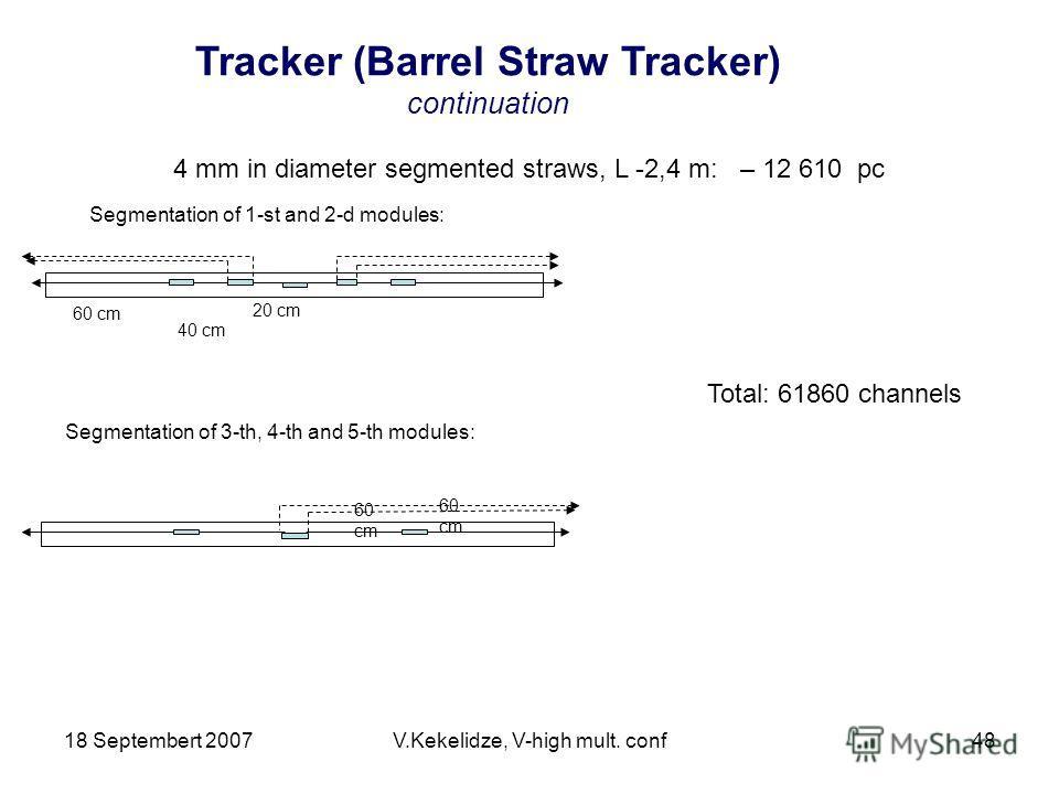 18 Septembert 2007V.Kekelidze, V-high mult. conf48 4 mm in diameter segmented straws, L -2,4 m: – 12 610 pc 20 cm 40 cm 60 cm Segmentation of 1-st and 2-d modules: Segmentation of 3-th, 4-th and 5-th modules: 60 cm Total: 61860 channels Tracker (Barr