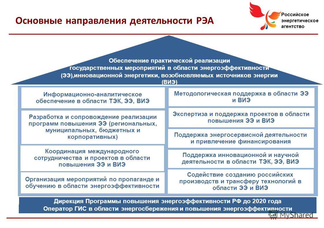 Российское энергетическое агентство Основные направления деятельности РЭА Информационно-аналитическое обеспечение в области ТЭК, ЭЭ, ВИЭ Разработка и сопровождение реализации программ повышения ЭЭ (региональных, муниципальных, бюджетных и корпоративн