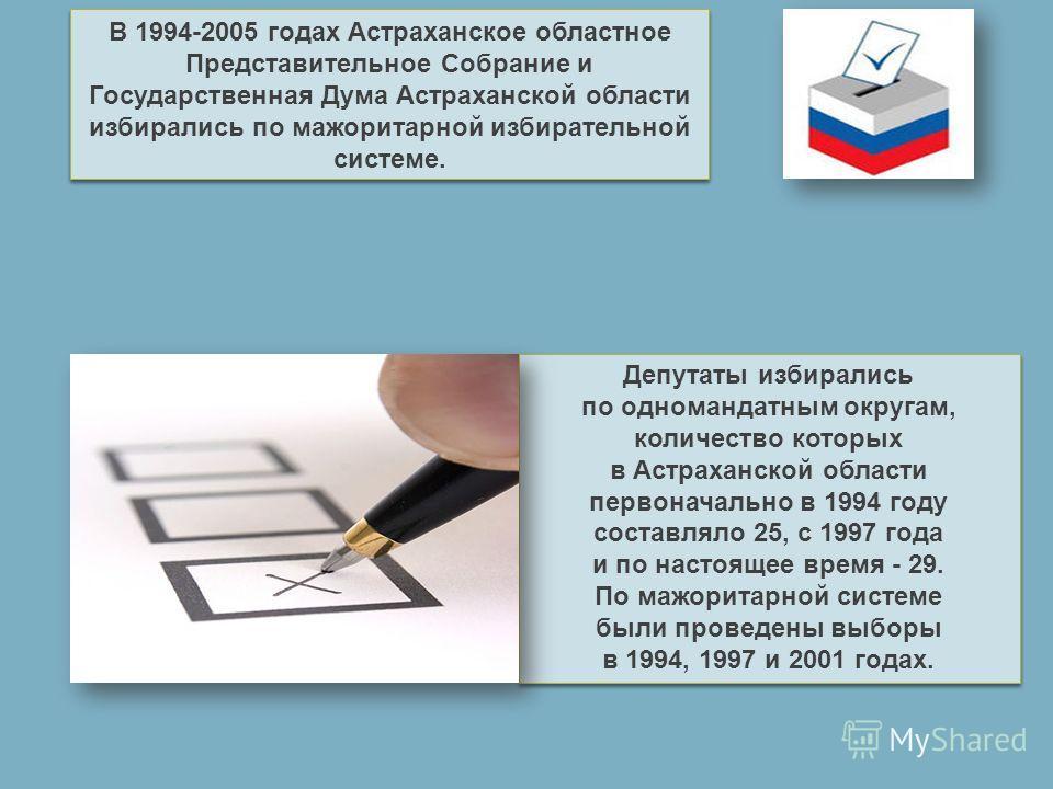 В 1994-2005 годах Астраханское областное Представительное Собрание и Государственная Дума Астраханской области избирались по мажоритарной избирательной системе. Депутаты избирались по одномандатным округам, количество которых в Астраханской области п